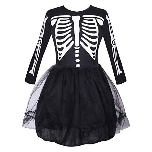 Meeyou Girls Skeleton Costume, Halloween Bones Fancy Dress Up for Children, 4-6Y