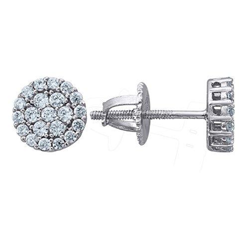 Diamond Silver Cluster Earrings (925 Sterling Silver Unisex Round Cubic Zirconia CZ Stud Flower Cluster Earrings (7mm))