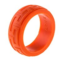 9mm Premium Heavy Duty Silicone Wedding Band - Thicker and Stronger for our Toughest Customers- Safe, Flexible silicone ring for Athletes and Professional Grade Workers- Burnt Orange w/Aztec engraving