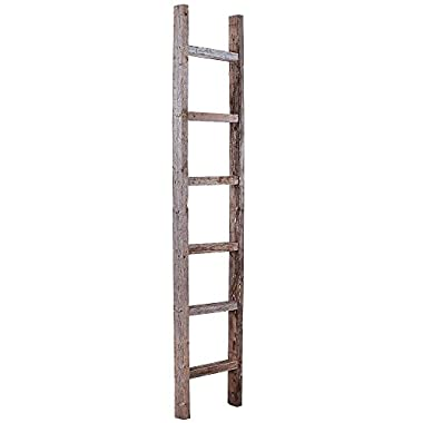 BarnwoodUSA Decorative 6 Foot Old Wooden Ladder -  Genuine Reclaimed Wood
