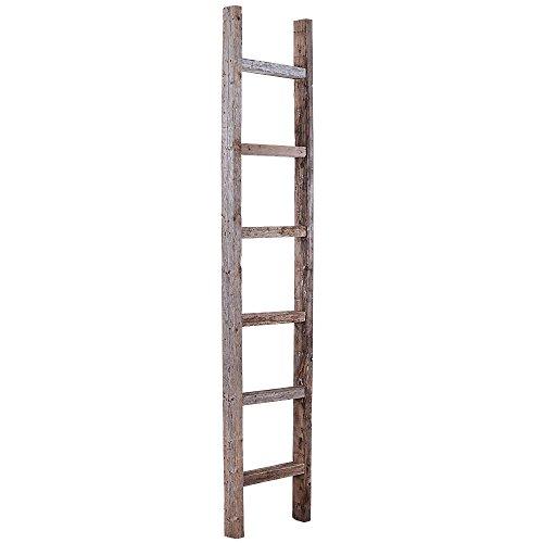 BarnwoodUSA Rustic 6 Ft Decorative Ladder Shelf - 100% Reclaimed Wood, Weathered Gray