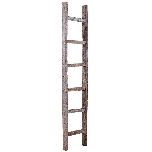 [BarnwoodUSA Rustic 6 Ft Decorative Ladder Shelf - 100% Reclaimed Wood, Weathered Gray] (Wall Ladder)