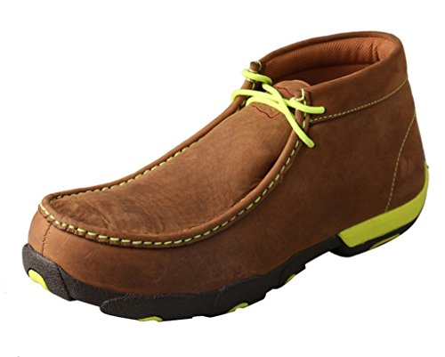 Men's Driving Moccasins - Distressed Saddle/Neon ()
