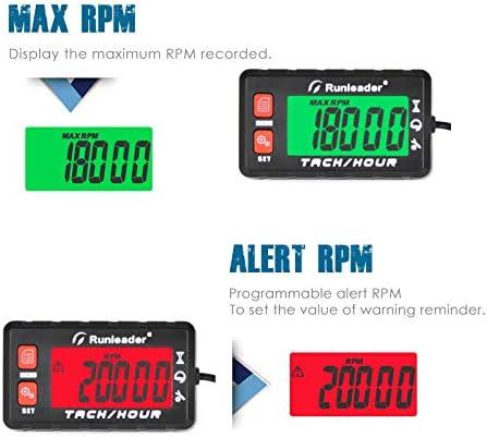 affichage r/étro-/éclair/é multicolore heures initiales r/églables utilisation pour VTT marin et /équipement aliment/é au gaz Tachym/ètre de compteur horaire Runleader HM058A-RD rappel de maintenance