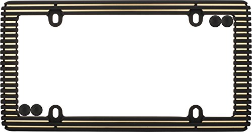 - Cruiser Accessories 58300 Rubberized Black/Gold License Plate Frame with Fastener Caps