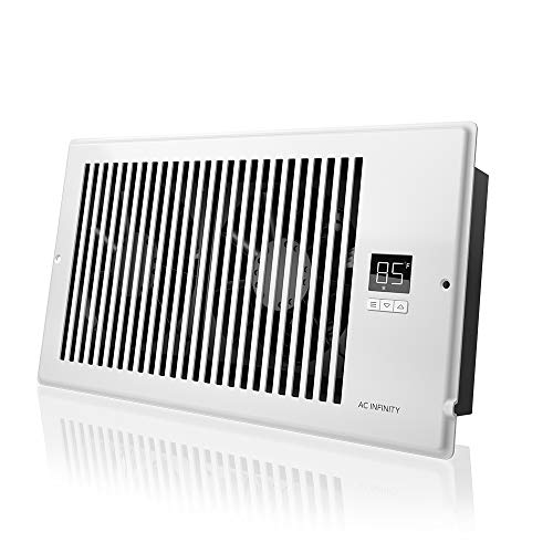 """AC Infinity AIRTAP T6, Quiet Register Booster Fan with Thermostat Control. Heating Cooling AC Vent. Fits 6"""" x 12"""" Register Holes."""