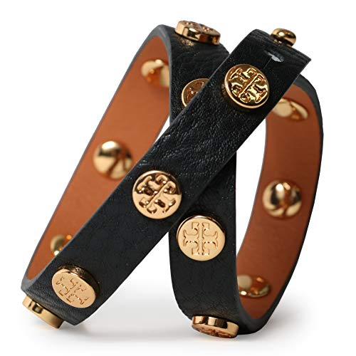 Tory Burch Bracelet Double Wrap Logo TB Leather Studded