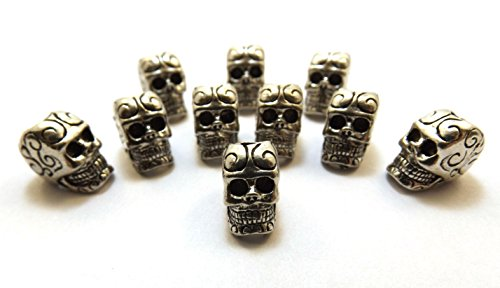 Gold Chest Jewelers Ten (10) Pewter Decorative Sugar Skull Beads with 4mm Vertical Hole (5063)