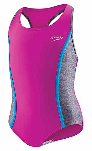 (Speedo Girls Racerback Keyhole One Piece Swimsuit Sporty Splice New Blush Size 8)