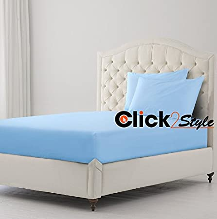 Clicktostyle Bunk Bed Fitted Sheet Polycotton Fabric Plain Dyed