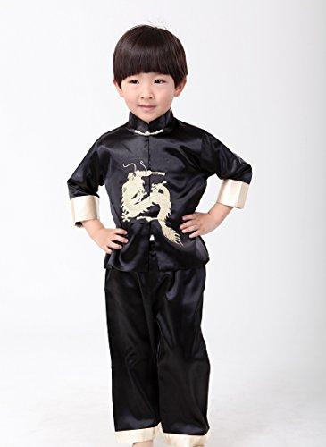 Noir Tang Kung Acvip Veste Costume Chinois De chemise blouse fu Garçon Enfant OxYOFPv