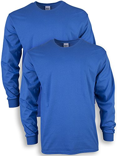 Gildan Men's Ultra Cotton Adult Long Sleeve T-Shirt, 2-Pack, Royal, 2X-Large