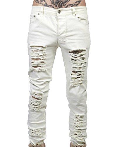 del Ajustados Vaqueros Gris Desgarros Hombre para Lavado Vaqueros Pantalones Estilo blanco Vagabundo con qRwHAXrwW