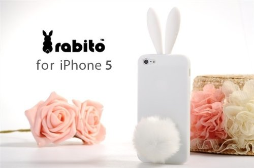 HOT!!! Cute Soft Rabito Bunny Case with Furry Removable Tail Holder for Apple iPhone 5 (WHITE) ()
