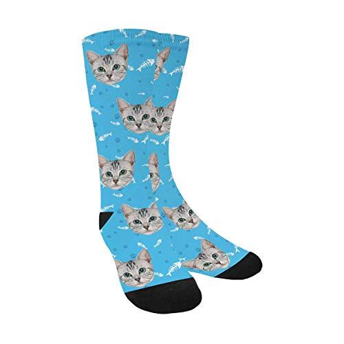 Custom Personalized Photo Pet Face Printed Fish Bones Cat Dog Tracks Paws Blue Crew Socks for Men Women Unisex ()