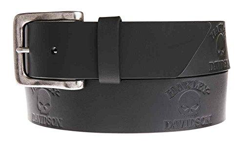 Harley-Davidson Men's Phantom Willie G Skull Belt, Black Leather HDMBT11040 (36)