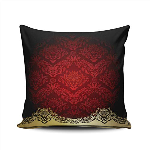 (Hoooottle Custom Red with Gold Flowers and Leaves Decorative Pillowcase Throw Pillow Case Cover Zippered Square Double Side Printed 16x16 Inches)