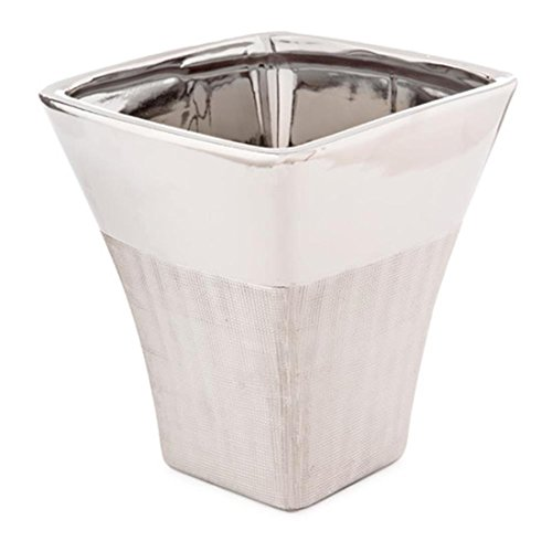 Darice 30006582 Silver Ceramic Planter: 6.75 x 8 Inches by Darice