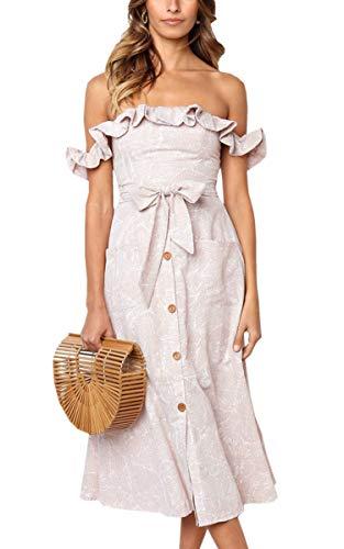 Angashion Women's Sleeveless Off Shoulder Ruffles Midi Long Dress Floral Print Tie Waist Maxi Dress with Pocket Beige XL ()