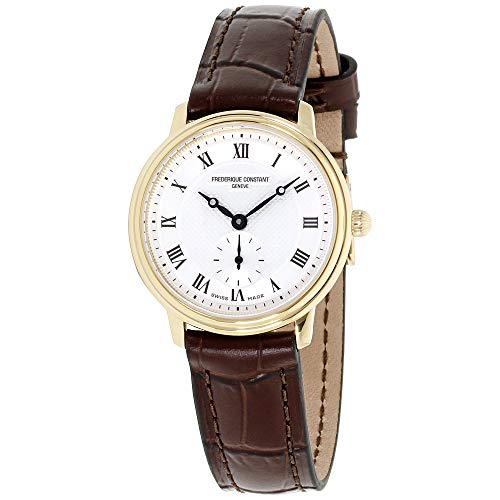 Frederique Constant Slimline Stainless Steel Swiss-Quartz Watch with Leather Calfskin Strap, Brown, 14 (Model: FC-235M1S5)