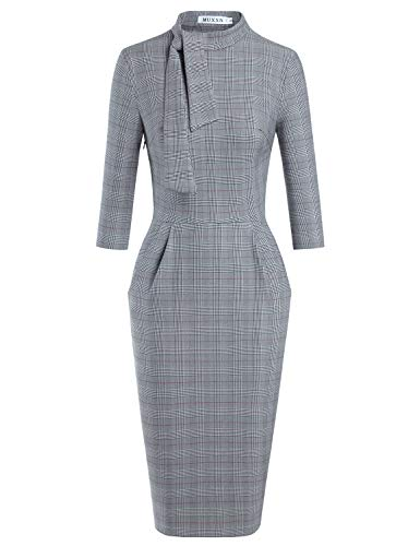 Satin Tie Waist Dress - MUXXN Ladies Pinup Style Half Sleeve Empire Waist Pencil Office Pattern Dress (Grey Plaid L)