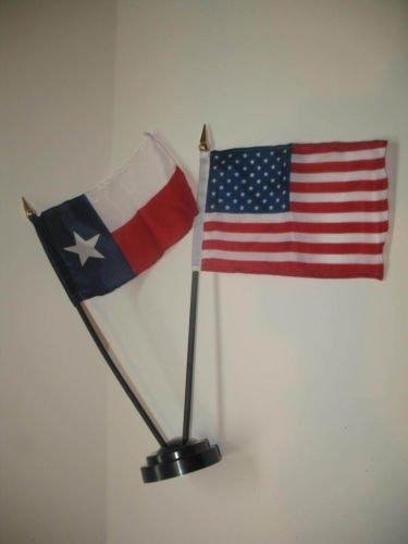 Texas State USA American Flag 4''x6'' Desk Set Table Stick Black Base BEST Garden Outdor Decor polyester material FLAG PREMIUM Vivid Color and UV Fade Resistant
