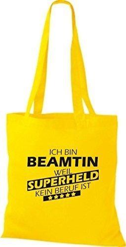 Shirtstown Stoffbeutel Ich bin Beamtin, weil Superheld kein Beruf ist gelb