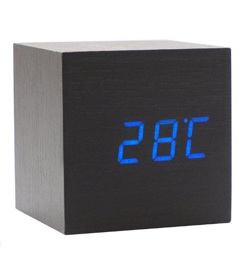 Elecsmart USB/ AA Battery Powered Creative Voice Sound Activated Wood LED Digital Alarm Wooden Clock Despertador with Temperature Display Adjustable ...
