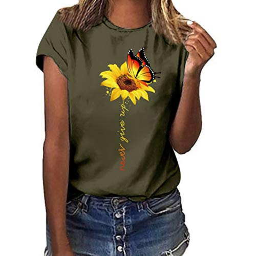 Sunflower T-Shirts,Pengy Women's Plus Size Printing Short Sleeved T-Shirt Blouse Tops Summer Loose Blouse Tops Army Green