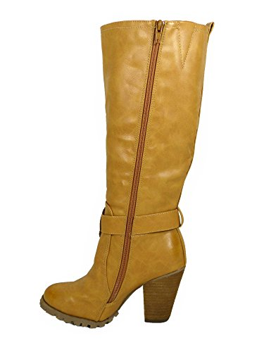 SKO'S Women's Ladies Tall Knee High Biker Boots With Straps and Heel Tan (1256) ODWqwd