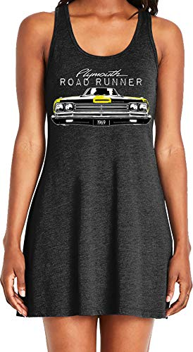 Amdesco Ladies Plymouth Road Runner Officially Licensed Casual Racerback Tank Dress, Black XL ()