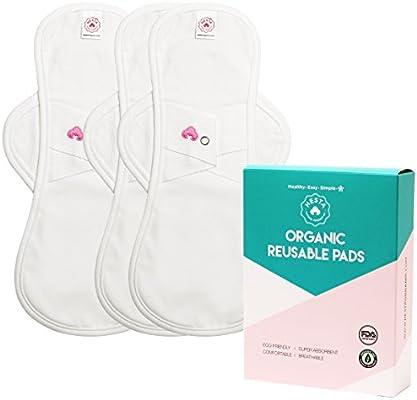 Hesta - Set de 3 compresas de algodón orgánico reutilizables: Amazon.es: Salud y cuidado personal