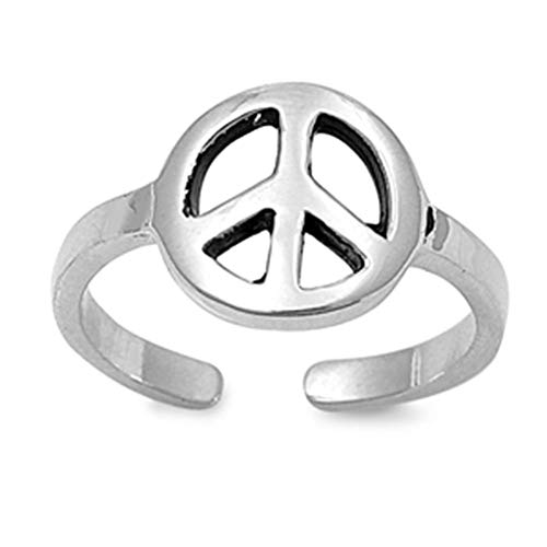Adjustable Peace Sign Sterling Silver 925 Toe Ring Beach Jewelry