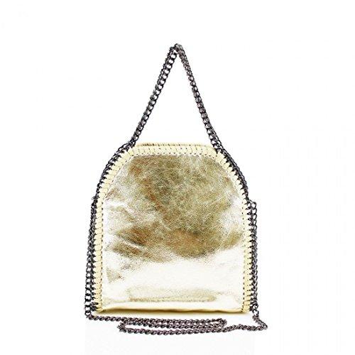 Women's Designer LARGE MINI Handbag CHAIN EDGE Hobo Shoulder Messenger Bag Gold Mini