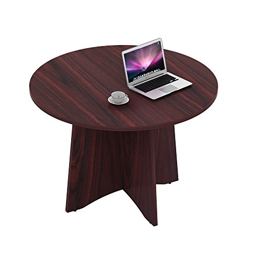 Sunon 41.3'' Dia Round Conference Table with X-Shaped Wood Panel Small Dining Table (Mahogany Office Table)