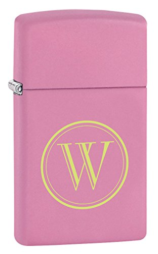 (Personalized Zippo Pink Matte Slim Lighter with free laser initial engraving)