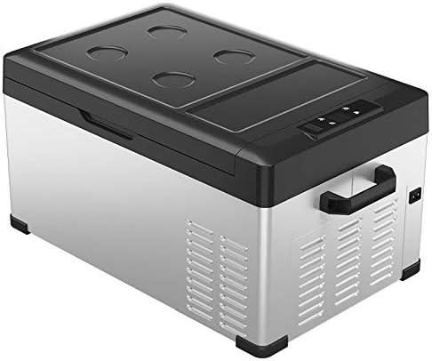 車載家庭両用 ポータブル冷蔵庫 50L大型電動ポータブルコンプレッサー冷蔵庫低ノイズ冷凍庫キャンプビーチフェスティバルDC12V / AC220V 小型 コンパクト (色 : 白, Size : 57X36X49CM)