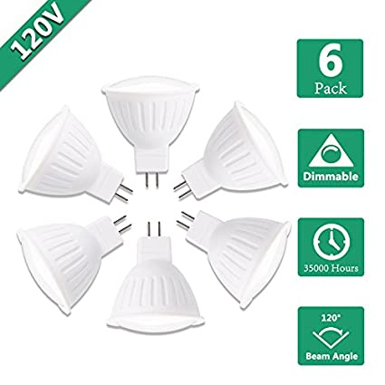 500lm Accent 120 Beam Angle 120V GU5.3 Base Spotlight bulb for Recessed Dimmable 5W MR16 LED Flood Light Bulb 50W Halogen Equivalent 5000K Daylight White Track and Landscape Lighting Pack of 4
