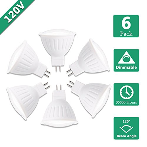 Price comparison product image 120V GU5.3 LED Bulbs,  5W Spotlight 500lm,  50W Halogen Equivalent,  3000K Soft White,  120° Beam Angle,  Dimmable, MR16 Bi pin Light Bulbs for Ceiling Lamp, Chandelier, Display lighting,  UL Listed-6 Packs