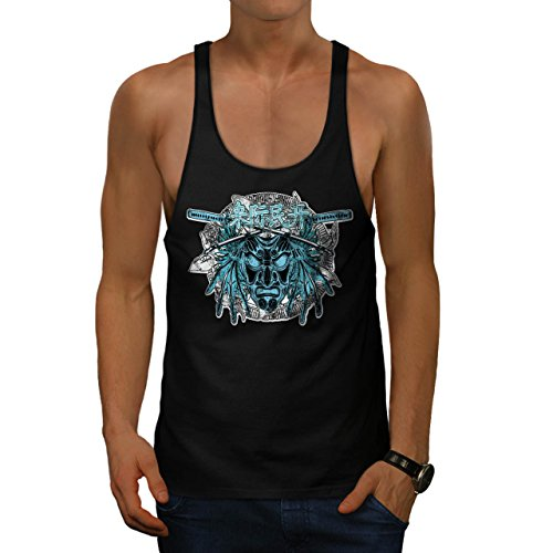 [Chinese Samurai Mask Parade Mob Men NEW L Gym Tank Top | Wellcoda] (Chinese Dragon Parade Costume)