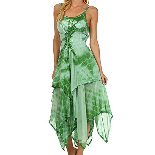 (Elegant Women's Irregular Dress Lace Up Sleeveless Corset Bodice Handkerchief Hem Casual Tunic Midi Dress Green)