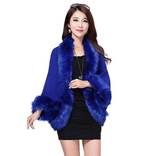 Haidean Maniche Lunghe Semplice Giacca Outerwear Donna Cappotto Giubbino Pelliccia Elegante Glamorous Hot Blau Sintetica Invernali Corto ArAqwBY