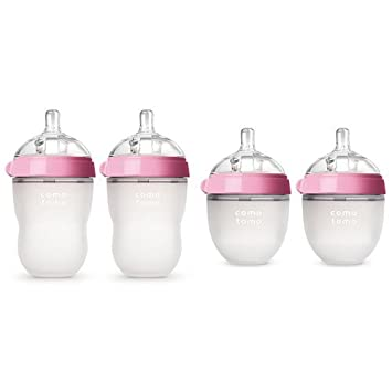 Pink Two 8-Ounce, Two 5-Ounce Comotomo Baby Bottle Starter Set
