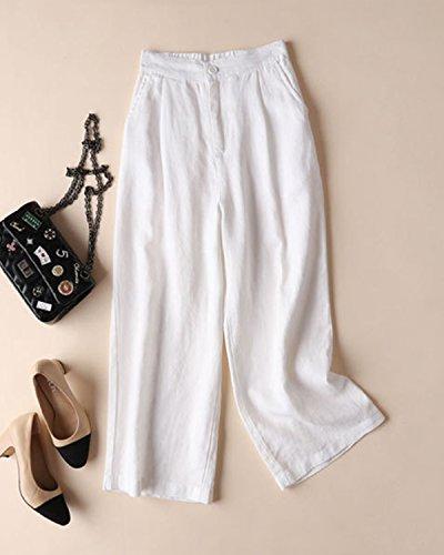 Work Crop Retour Élastique Pantalons Lin Pantalon Taille Aeneontrue Femmes Capri Blanc qPw8Ax6