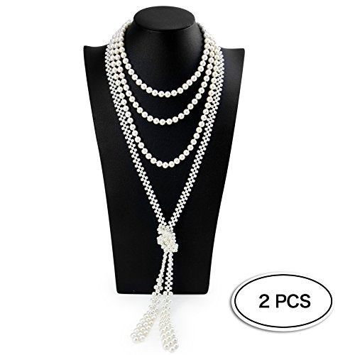 Faux Chains (Pearls Flapper Beads 1920s Accessories Fashion Sweater Chain Faux Pearl Necklace,Cluster Gastaby 2 pack)