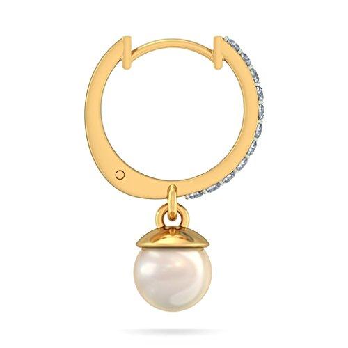 Or jaune 18K 0,22CT TW White-diamond (IJ | SI) et Off White Pearl Boucles d'oreilles créoles