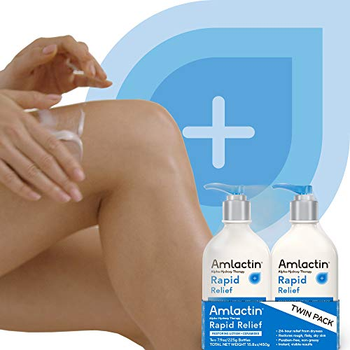AmLactin Rapid Relief Restoring Lotion + Ceramides | 24-Hr Dryness Relief | Powerful Alpha-Hydroxy Therapy Gently Exfoliates | Lactic Acid (AHA) | Rough Flaky Dry Skin | Twin Pack (2) 7.9 oz. Bottles by AmLactin (Image #3)