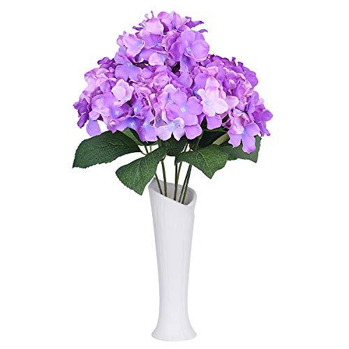 Lvydec Artificial Hydrangea Flowers, Silk Hydrangea Bouquet with 6 Full Flower Heads and Dark Green Leaves for Wedding, Flower Arrangements, Centerpiece (Purple) (Hydrangea Arrangements Purple)