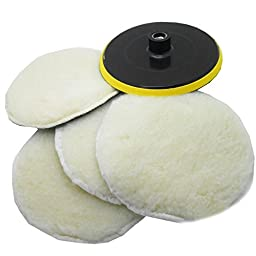 SPTA 6 Inch (150mm) POLISHER/BUFFER SOFT WOOL BONNET & PAD with HOOK & LOOP for POLISHING/BUFFING -5/8\
