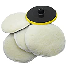 """SPTA 7inch POLISHER/BUFFER SOFT WOOL BONNET & PAD with HOOK & LOOP for POLISHING/BUFFING -5/8""""-11 Thrad Pack Of 5Pcs"""